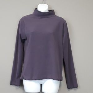 Woolrich women's purple fleec mock neck sweatshirt
